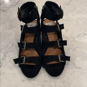 New Dolce Vita Black LeeAnn Buckle Wedge Sandals